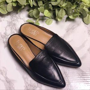 Franco Sarto Sabella Black Leather Flat Mules Sz 7